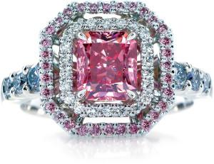 cute princess cut pink diamond engagement rings