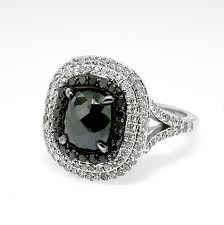 four edged black diamond ring