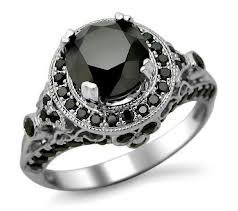 halo shaped black diamond ring