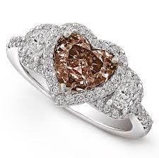 heart shaped chocolate diamond engagement rings