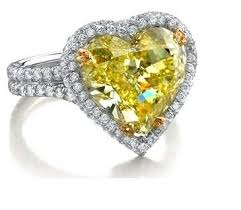 heart shaped fancy yellow diamond engagement rings