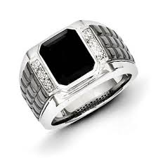 mens silver black diamond ring