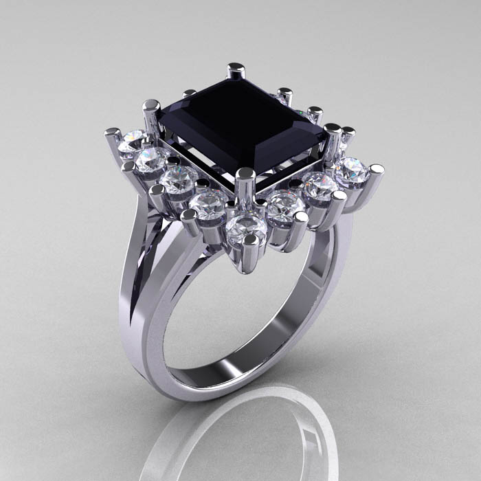royal squared black diamond ring