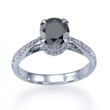 shining silver black diamond ring