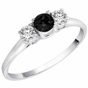 small and round black diamond ring