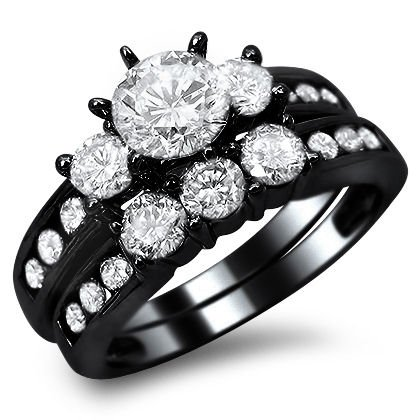 sophisticated black gold rings - Black Wedding Rings For Her