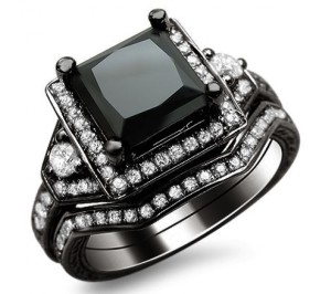 squared black diamond ring