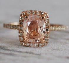 squared peach champagne diamond engagement rings