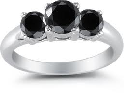 three stone black diamond ring